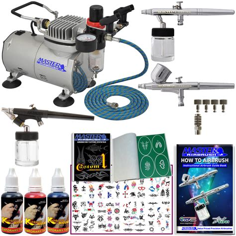 airbrush tattoo kit 3 airbrush kit 3 colors comp hose airbrush ink stencil