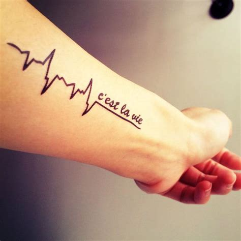 3pcs c est la vie heart pulse tattoo inknart temporary by