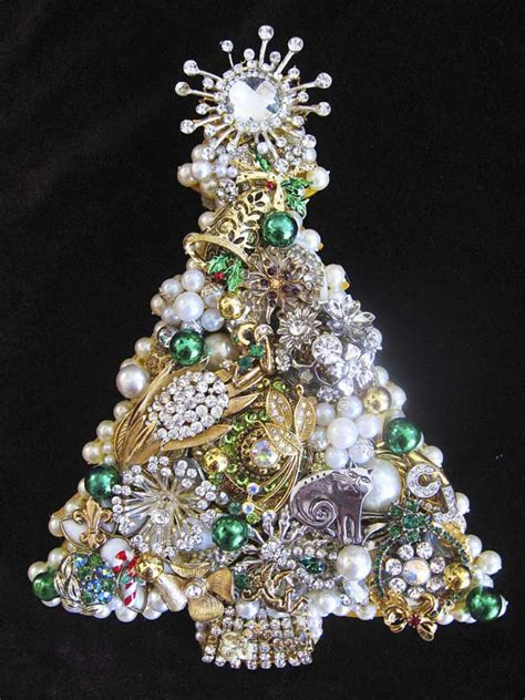 vintage jewelry christmas tree collage by artcreationsbycj