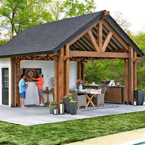 outdoor kitchen pavilion shed backyard pavilion