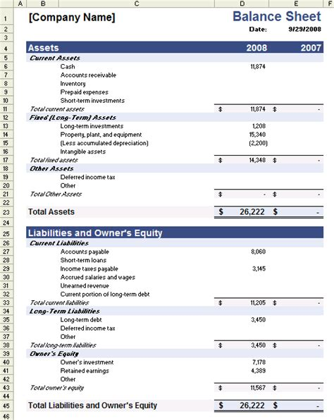 Sle Balance Sheet Template For Excel Business Balance Sheet Template