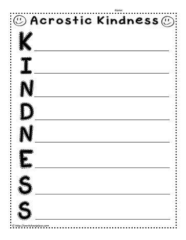 Kindness Worksheets by Kindness Acrostic Worksheets