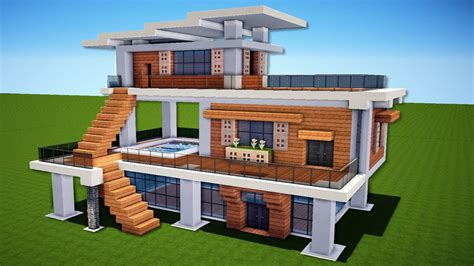 how to build a modern house in minecraft minecraft how to build a modern house easy tutorial youtube