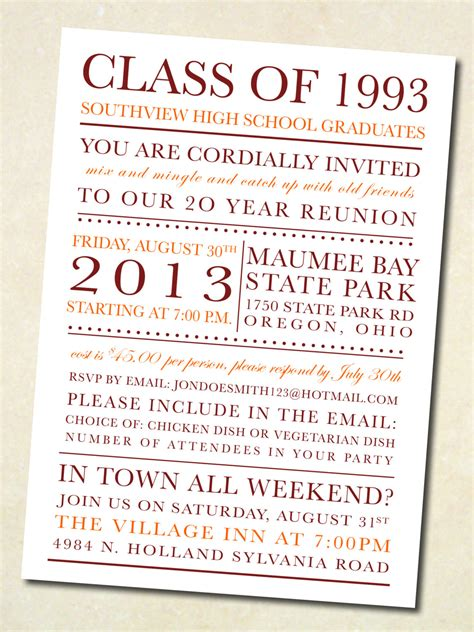 class reunion invitation template school colors class reunion invitation digital by