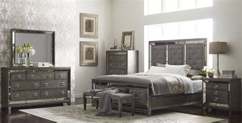 lenox platinum painted upholstered panel bedroom set from