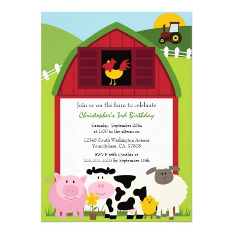 barn invitation template farm animals barn birthday invitation 5 quot x 7