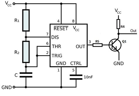 resistor values for 555 timer how do i select base resistor values for low duty cycle