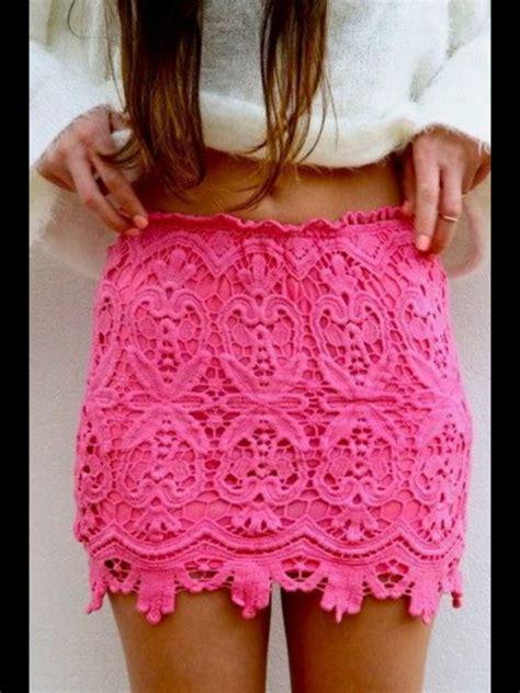 Lace Crochet Skirt Pink Size M saboskirt pink lace crochet mini skirt size s ebay