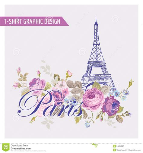 t shirt floral paris graphic design stock vector image