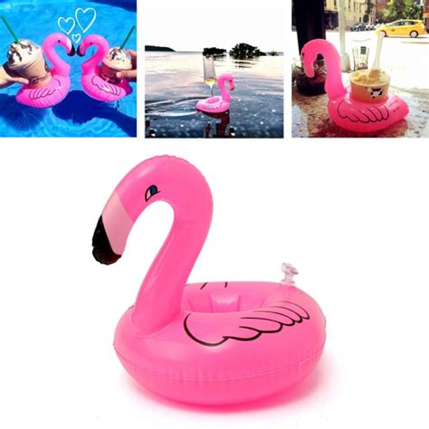 flamingo float drink can holder pool home
