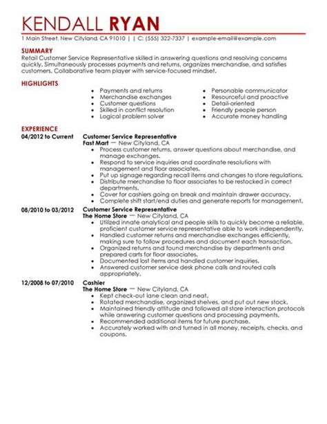 exle of customer service resume customer service representative resume exles retail