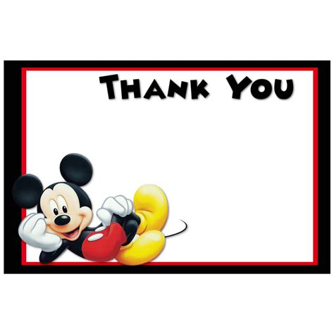 Printable Thank You Cards Mickey Mouse | printable mickey mouse thank you cards digital mickey mouse