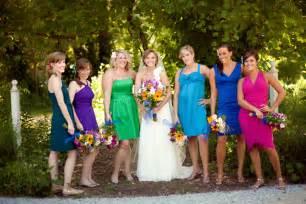 multi colored bridesmaid dresses bridesmaid bright multi colored dresses idea designers