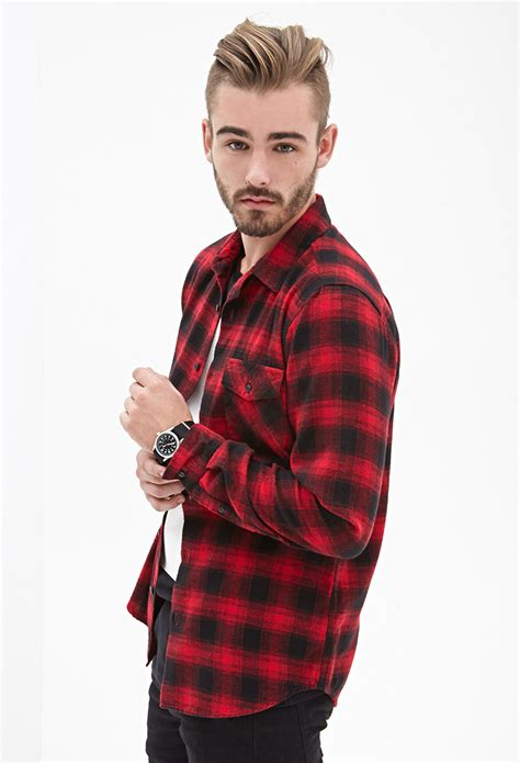 Kemeja Flannel Hoodie 3 lyst forever 21 blurred plaid flannel shirt in for