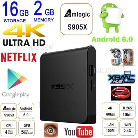 Android Tv Box T95x 4k S905x Quadcore Amlogic Marshmallow 6 0 Ram 2gb t95x amlogic s905x android 6 0 tv box 4k kodi 16 1