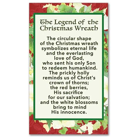 the legend of the christmas tree poem the legend of the wreath prayer card
