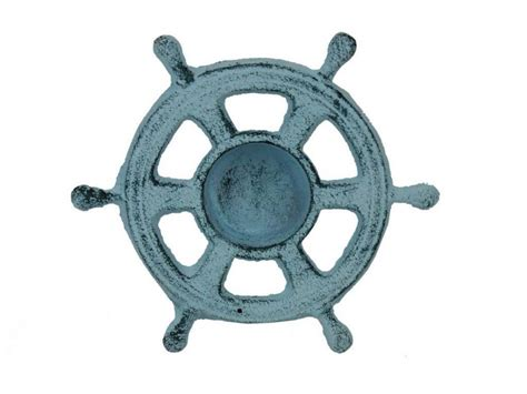 boat steering wheel what is it called buy dark blue whitewashed cast iron ship wheel decorative