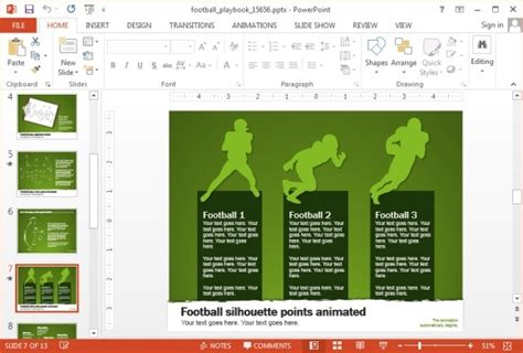 Animated Football Playbook Powerpoint Template Powerpoint Playbook