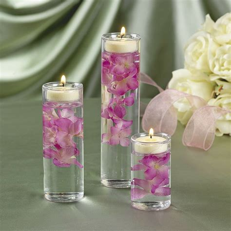 Cylinder Vases With Floating Candles And Flowers by Glass 3 Pc Cylinder Tealight Candle Holders Wedding Sand