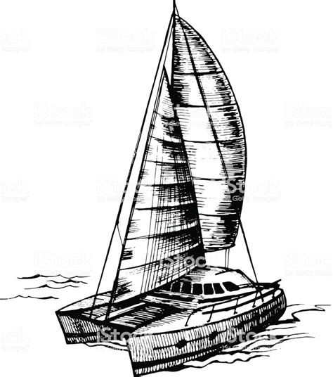 catamaran drawing catamaran sailboat monochrome vector stock vector art