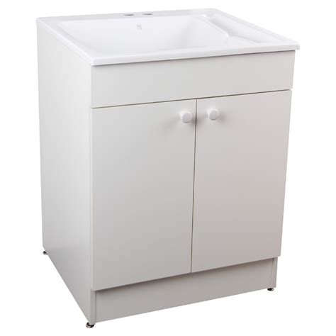 white utility sink with cabinet laundry sink with cabinet and faucet 24 quot white rona