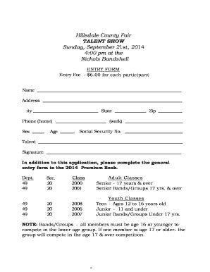 talent show registration form template talent show form format fill printable fillable