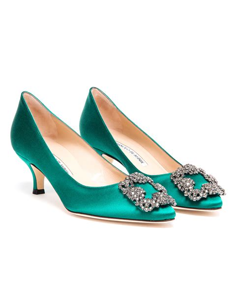 Manolo Blahnik Poppy Heels by Manolo Blahnik Hangisi Embellished Satin Mid Pumps In