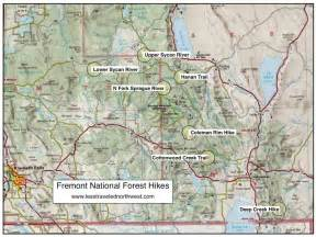 oregon national forest map day hikes in fremont national forest