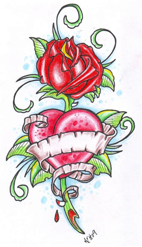 rose and heart tattoo with banner designs www imgkid the image kid