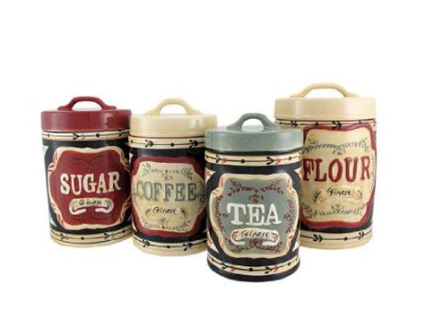 4 piece country store kitchen ceramic canister set young s 4 piece ceramic country store canister set 12