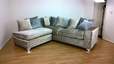 Silver Corner Sofa by Crushed Velvet Silver Corner Sofa Aged To Perfection