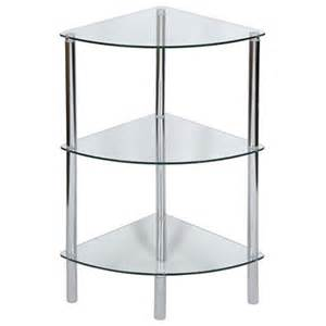 levv 3 tier corner clear glass shelving unit next day