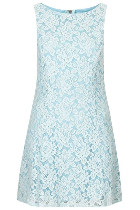 Light Blue Shift Dress by Topshop Light Blue Lace Shift Dress By In Blue Lyst