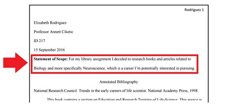 exle of scope in research paper should an annotated bibliography a title