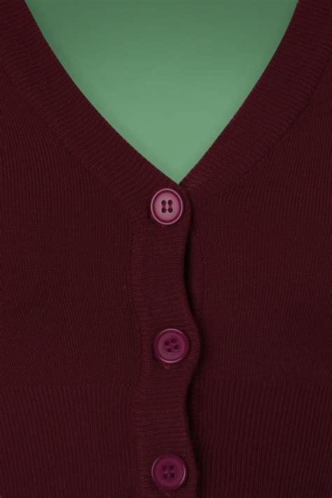 Jaket Sweater Wanita Murah Quen Crope Sweater 50s shela cropped cardigan in burgundy