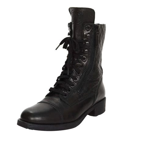 chanel combat boots chanel black leather lace up combat boots sz 39 at 1stdibs