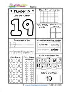 number worksheets for kindergarten number 19 worksheet