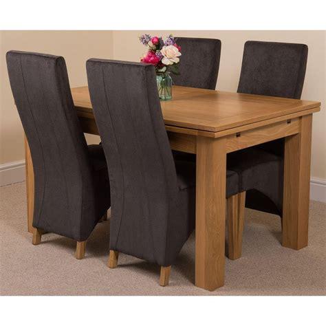 richmond medium oak dining set  dark grey fabric chairs