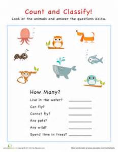 count and classify animals worksheet education com