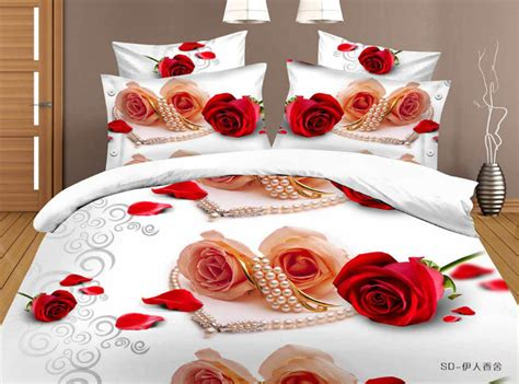 Bed Cover Sprei Murah 1 3d pearl petals white bed linen 100 cotton bedding set 4pcs bed cover bed linen bedspread
