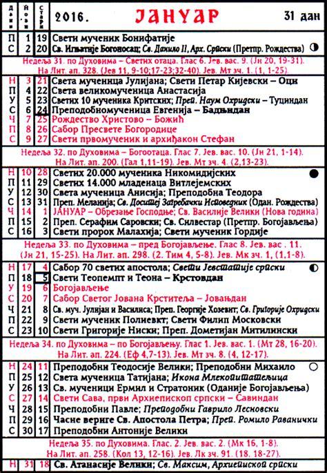 Kalendar 2018 Uskrs Pravoslavni Crkveni Kalendar Za 2016 Godinu