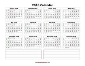 Calendar 2018 Printable With Notes Blank Calendar 2018