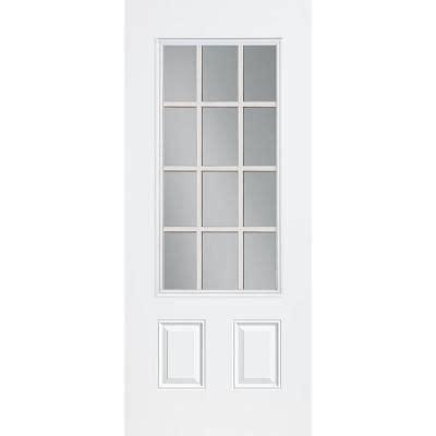 12 Lite Exterior Door 36 In X 80 In Steel White Prehung Left Inswing 12 Lite Entry Door With No Brickmold