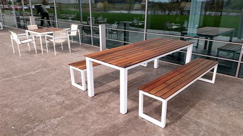 Buy A Custom Made Reclaiemd Brazilian Ipe And Steel Patio Patio Table And Bench Set