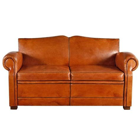 club sofa french art deco leather club sofa 1930s at 1stdibs