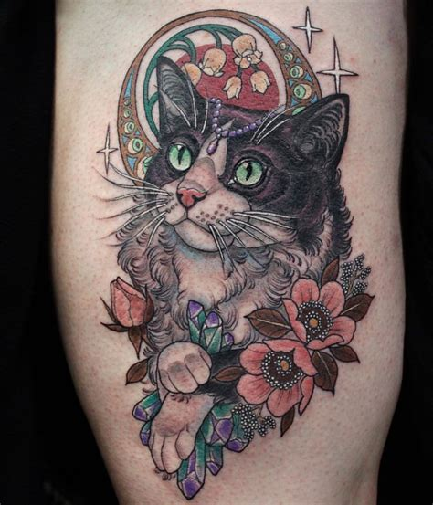 neo trad cat tattoo neo traditional tattoo with cat and flower