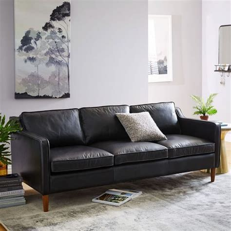 elm hamilton leather sofa best 25 black leather couches ideas on black