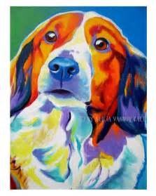colorful pet portrait kooiker hound dog art paper or