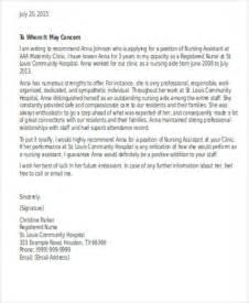 Recommendation Letter Sle Nursing Assistant 9 Sle Nursing Reference Letter Free Sle Exle