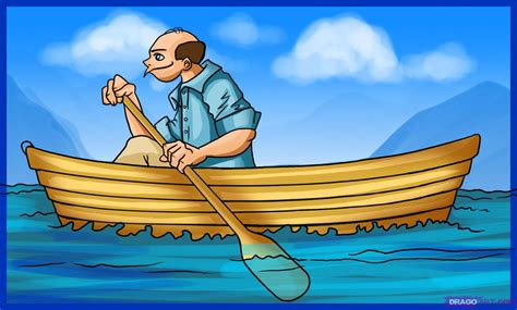cartoon boat rowing how to draw a boat step by step boats transportation